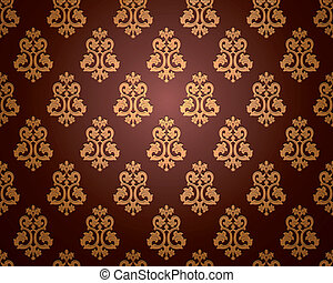 wallpaper., vettore, seamless, damasco