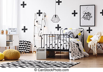 Wallpaper with crosses in bedroom