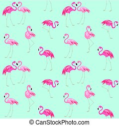 Wallpaper with cute pink flamingo