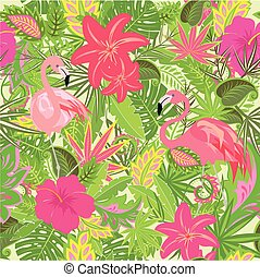 Wallpaper with exotic flowers, tropical leaves and flamingo for fabric, textile, wrapping paper, greeting card, invitation, web design