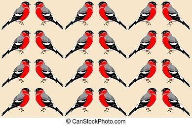 Wallpaper with red-bellied clark bird pattern. Winter birds theme