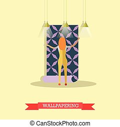 Wallpapering concept vector illustration in flat style