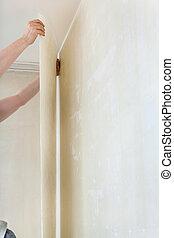 wallpapering, su, pulito, parete, in, stanza