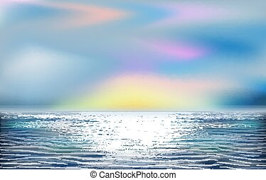 wallpapert, ベクトル, 海洋, イラスト, トロピカル, 美しい