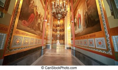 Walls and ceiling in passage in Christ the Savior Cathedral...