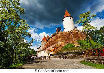 Walls and fortification of Krivoklat castle in Czech republic