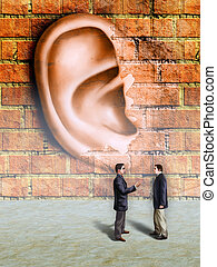 Walls have ears - Bussinessmen conversation being spied by a...