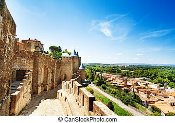 Walls in the west side of Carcassonne citadel