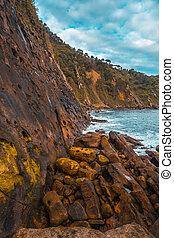 Walls Mount Ulia in the sea near San Sebastian. Gipuzkoa. Spain