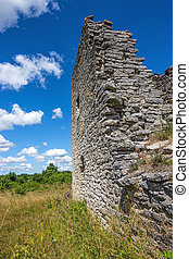 Walls of a medieval church in Gotland, Sweden