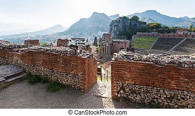 walls of ancient Teatro Greco in Taormina - travel to Italy...