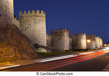 Walls of Avila tonight, Castilla y Leon (Spain)