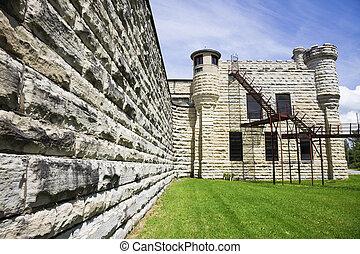 Walls of historic Jail in Joliet