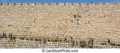 Walls of Jerusalem old city - Israel - JERUSALEM - MAY 05...