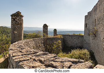 Walls of Spis Castle in Slovakia. Spissky hrad, National...