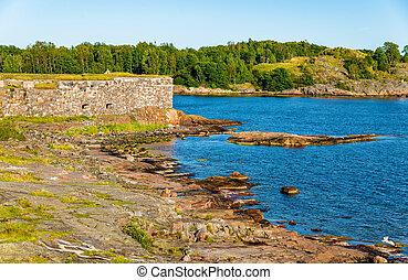 Walls of Suomenlinna, a sea fortress in Helsinki, Finland