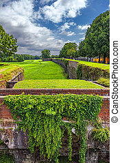 walls of the ancient fortress in the Italian city of Lucca