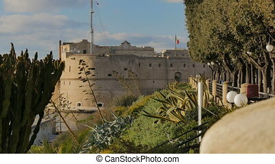 Walls of the Aragonese castle in Taranto, Italy - Walls of...