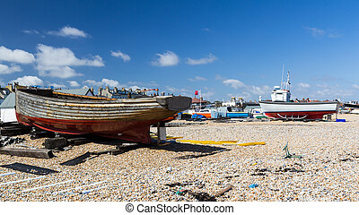 Walmer Kent - Boats on the beach at Walmer Kent England UK