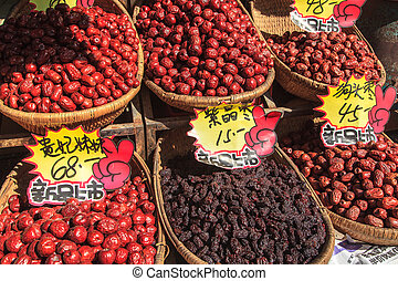 walnoten, te koop, op, een, marktkraam