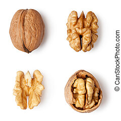walnut and a cracked walnut isolated on the white background...