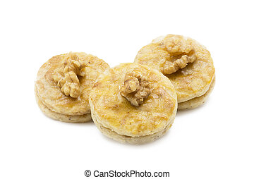 Walnut apricot cookies, shot taken with large depth of field (DOF)