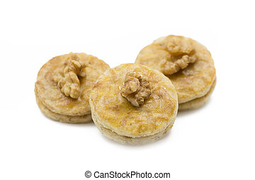 Walnut apricot cookies, shot taken with shallow depth of field (DOF)