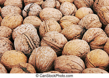 walnut background, close-up