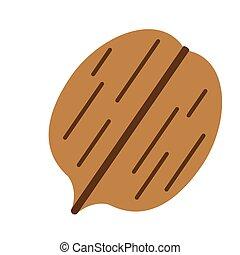 walnut flat simple illustration. Kitchen cooking -...