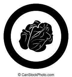 Walnut icon black color in circle