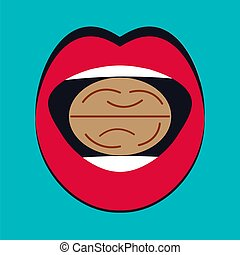Walnut in mouth of woman. Metaphor for solving problems,...