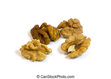Walnut isolated on a white background with an easy shade