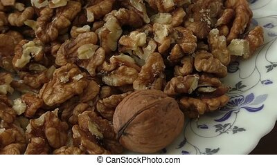 Walnut kernels in basket