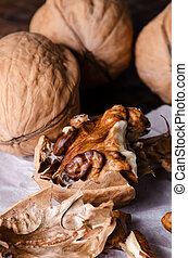 Walnut on a table