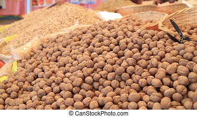 Walnut on market - Nuts in the central market of Istanbul