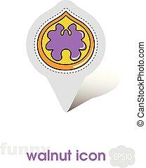 Walnut pin map icon. Walnut fruit sign