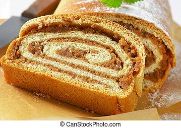 Walnut Roll on baking paper