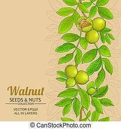 walnut vector background - walnut vector pattern on color...
