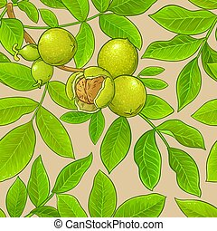 walnut vector pattern on color background