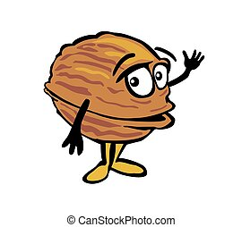 Walnut waves his hand. Color vector flat illustration on white background.