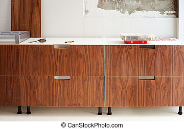 walnut wood kitchen construcion modern design
