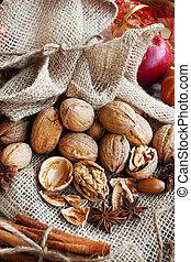 walnuts, ассортимент, with, анис, and, корица