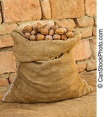 A sack full of walnuts in front of a wall.