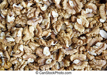 Walnuts background. Kernels walnuts without shell. Top view. Vegetarian or healthy eating. Vegetarian or healthy eating.