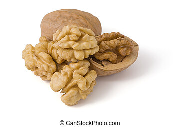 Walnuts close up isolated on white background. Image content a clipping path for desiners