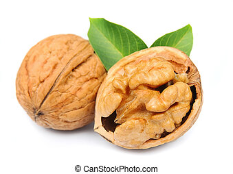 walnuts close up on white