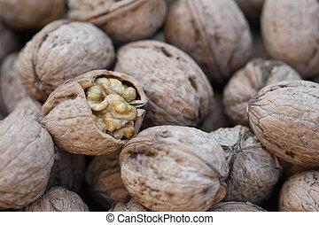 Walnuts. Close up