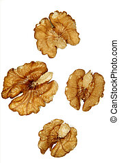 Walnuts - Four walnut halves on white