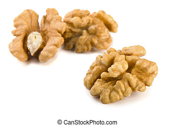 Walnuts - Group of peeled walnuts isolated on a white
