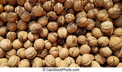 walnuts harvest as background